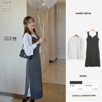 Fashion suit Winter 2020 S,M,L,XL White_ Shirt, dark grey_ Suspender skirt Under 17 Other / other