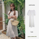 Dress Summer 2021 white S,M,L,XL Mid length dress singleton  Long sleeves commute Polo collar High waist Solid color zipper A-line skirt shirt sleeve Others 18-24 years old Type A Korean version 81% (inclusive) - 90% (inclusive) cotton
