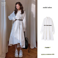 Dress Spring 2021 white S,M,L,XL longuette singleton  Long sleeves commute Polo collar High waist Solid color Socket A-line skirt 18-24 years old Type A Other / other Korean version Bandage polyester fiber