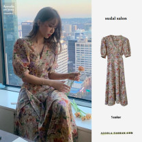 Dress Summer 2020 Decor S,M,L,XL Middle-skirt singleton  Long sleeves commute Doll Collar High waist Broken flowers A button A-line skirt puff sleeve Others 18-24 years old Type A Print, bow, Ruffle 91% (inclusive) - 95% (inclusive) Chiffon other