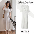 Dress Summer 2020 white S,M,L,XL longuette singleton  Short sleeve commute V-neck High waist Solid color zipper A-line skirt puff sleeve Others Type A Korean version Chiffon