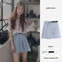 skirt Summer 2021 S,M,L,XL Blue, white, black Short skirt commute High waist Pleated skirt Solid color Type A 18-24 years old 31% (inclusive) - 50% (inclusive) Denim cotton Buttons, zippers, bows, folds, laces, bandages Korean version