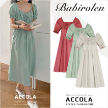 Dress Summer 2020 Apricot, mint, rose pink S,M,L,XL longuette singleton  Short sleeve commute square neck High waist Solid color zipper A-line skirt puff sleeve 18-24 years old Other / other Korean version Bow, ruffle, lace up, bandage, zipper