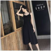 Dress Summer 2021 Black, breast wrapped S,M,L,XL,2XL Other / other