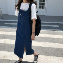 Dress Summer 2020 navy blue S,M,L Mid length dress singleton  Sleeveless commute other High waist Solid color Socket A-line skirt routine straps 18-24 years old Type H Korean version 51% (inclusive) - 70% (inclusive) Denim cotton
