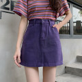 skirt Summer 2020 S,M,L,XL White, purple, Burgundy, black, beige, khaki Short skirt Versatile High waist A-line skirt Solid color Type A 18-24 years old 71% (inclusive) - 80% (inclusive) Denim Other / other cotton