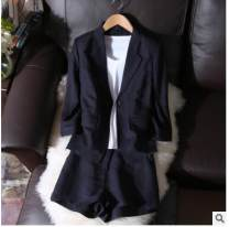 suit Summer of 2018 Navy Blue XL,2XL,3XL,4XL,5XL Nine point sleeve easy tailored collar A button Solid color 25-29 years old 91% (inclusive) - 95% (inclusive) hemp