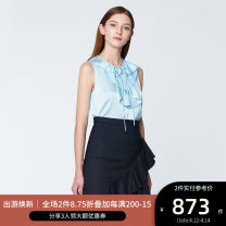 shirt CORYDALIS BLUE,LEMONADE 2,4,6,8,10 Spring 2020 polyester fiber 96% and above Sleeveless commute Regular Crew neck Socket routine Solid color 30-34 years old Straight cylinder Ports Simplicity SN8B028LWP015 Lotus leaf edge