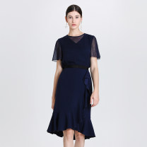 skirt Spring 2020 0,2,4,6,8,10 NAVY Middle-skirt Versatile High waist skirt Solid color Type X 30-34 years old ALL8S005KWB008 30% and below Ports polyester fiber Lotus leaf edge