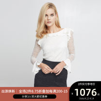 shirt Zhang Qingbai, milky white 2,4,6,8,10 Spring of 2018 nylon 96% and above Long sleeves commute Regular Crew neck Socket other Solid color 25-29 years old Self cultivation Ports Simplicity LV8B042CLN003