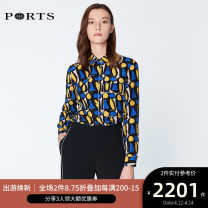 shirt NAVY PRINT 2,4,6,8,10,12 Spring of 2019 silk 96% and above Long sleeves commute other Single row multi button routine Broken flowers 25-29 years old Self cultivation Ports Ol style LN8B084HPS076