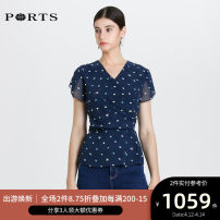 shirt NAVY PRINT 0,2,4,6,8,10 Spring 2020 polyester fiber 96% and above Short sleeve Versatile Regular V-neck zipper routine Dot 30-34 years old Self cultivation Ports