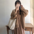 Dress Autumn of 2019 Sweater, coat, dress, two-piece suit S,M,L,XL longuette singleton  Nine point sleeve commute Crew neck High waist lattice Socket A-line skirt routine Others 18-24 years old Type A Other / other Korean version 31% (inclusive) - 50% (inclusive)
