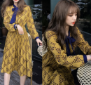 Dress Spring of 2018 Picture color S,M,L,XL Mid length dress singleton  Long sleeves commute V-neck Elastic waist Socket Pleated skirt other Others Type A Other / other Korean version Splicing, bandage