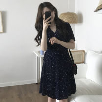 Dress Summer of 2018 White, red, black S,M,L Mid length dress singleton  Short sleeve commute V-neck High waist Dot other A-line skirt other Others Type A Other / other Korean version Bow tie
