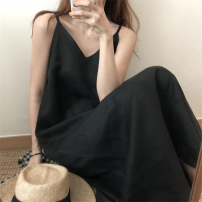 Dress Summer 2020 Off white, blue, black S,M,L,XL longuette singleton  Sleeveless commute V-neck High waist Solid color Socket A-line skirt routine camisole 18-24 years old Type A Other / other Korean version 31% (inclusive) - 50% (inclusive)