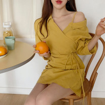 Dress Summer of 2019 yellow S,M,L,XL Short skirt singleton  three quarter sleeve commute Polo collar High waist Solid color Single breasted A-line skirt routine Others 18-24 years old Type A Other / other Korean version Bow tie 31% (inclusive) - 50% (inclusive) Chiffon