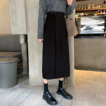 skirt Autumn 2020 S,M,L black Mid length dress commute High waist A-line skirt Solid color Type A 18-24 years old 31% (inclusive) - 50% (inclusive) other Other / other cotton Button Korean version