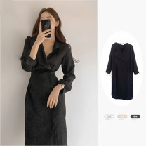 Dress Spring 2021 Khaki, white, black S,M,L Mid length dress singleton  Long sleeves commute Polo collar High waist Solid color Single breasted A-line skirt shirt sleeve Others 18-24 years old Type A Other / other Korean version 31% (inclusive) - 50% (inclusive)