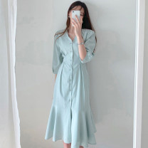 Dress Summer 2020 Khaki, light blue S, M Mid length dress singleton  elbow sleeve commute V-neck Loose waist Solid color Single breasted other other Others 18-24 years old Type A Other / other Korean version 71% (inclusive) - 80% (inclusive) other cotton
