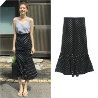 skirt Summer of 2019 S. M, l, XL, one size fits all Skirt piece, top piece Mid length dress commute High waist Ruffle Skirt Dot Type A 18-24 years old 30% and below Chiffon Other / other