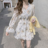 Dress Summer of 2019 Light blue, white S,M,L,XL Short skirt singleton  Long sleeves commute V-neck middle-waisted Decor Single breasted Ruffle Skirt bishop sleeve Others Type A Other / other Korean version Ruffle, print 51% (inclusive) - 70% (inclusive) Chiffon