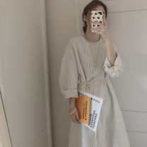 Dress Autumn of 2019 Off white S,M,L,XL longuette singleton  Long sleeves commute Crew neck Loose waist stripe Socket Big swing routine 18-24 years old Type A Other / other 31% (inclusive) - 50% (inclusive)