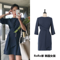Dress Summer of 2018 Navy Blue S,M,L,XL Middle-skirt singleton  Short sleeve commute Crew neck High waist Solid color Socket A-line skirt routine Others Type A Other / other Korean version Frenulum