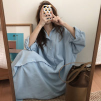 Dress Autumn of 2018 White, blue S,M,L,XL Mid length dress singleton  Long sleeves commute Polo collar Loose waist Solid color Single breasted other shirt sleeve Others Type H Other / other Korean version