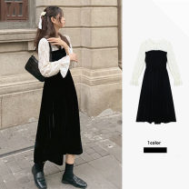 Dress Spring 2021 black S,M,L,XL Mid length dress Fake two pieces Long sleeves commute Lotus leaf collar High waist Solid color A-line skirt puff sleeve Others 18-24 years old Type A Other / other Korean version Lotus edge, hollow, Auricularia auricula, Gouhua, hollow, splicing