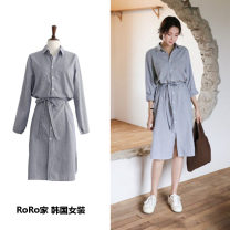 Dress Autumn of 2018 stripe S,M,L,XL Mid length dress singleton  Long sleeves commute Polo collar Loose waist stripe Single breasted shirt sleeve Others Type H Other / other Korean version Bow, tie, tie