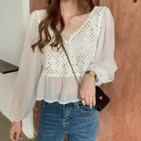 Lace / Chiffon Autumn 2020 white Average size Long sleeves commute Socket singleton  Straight cylinder have cash less than that is registered in the accounts V-neck Solid color puff sleeve Korean version