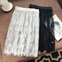 skirt Autumn of 2018 Average size White. Short 55cm, black. Short 55cm, white. Long 75cm, black. Long style 75cm Versatile A-line skirt Solid color 3D