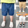 trousers Siliba male 90cm,100cm,110cm,120cm,130cm White, apricot, denim blue summer Pant leisure time There are models in the real shooting Casual pants Leather belt middle-waisted cotton Don't open the crotch Cotton 100% Class B