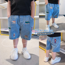trousers Duo Ge Yi Tong male 90cm,100cm,110cm,120cm,130cm blue summer Cropped Trousers There are models in the real shooting Jeans cotton 2 years old, 3 years old, 4 years old, 5 years old, 6 years old, 7 years old, 8 years old Chinese Mainland