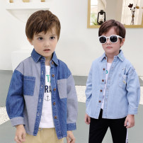 shirt male Other / other spring and autumn Long sleeve leisure time Cartoon animation Denim Lapel and pointed collar Cotton 100% Class B 2 years old, 3 years old, 4 years old, 5 years old, 6 years old, 7 years old, 8 years old Chinese Mainland Guangdong Province 90cm,100cm,110cm,120cm,130cm