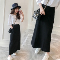 skirt Summer 2021 S. M, l, XL, 2XL, 3XL, contact customer service to customize the length for free Black - [thin] summer, dark gray - [thin] summer, black - [thick] spring and autumn longuette Versatile High waist A-line skirt Solid color Type A 25-29 years old 71% (inclusive) - 80% (inclusive) other