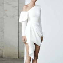 Dress / evening wear Wedding, adulthood, party, company annual meeting, performance, routine, appointment XXL,XXXL,XS,S,M,L,XL,XM White, black fashion Short skirt middle-waisted Spring 2020 Skirt hem Single shoulder type zipper Brocade 26-35 years old AM0095 Long sleeves 96% and above