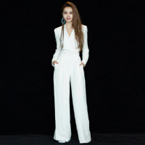 Dress / evening wear Wedding, adulthood, party, company annual meeting, performance, routine, appointment XXL,XXXL,XS,S,M,L,XL,XM white grace middle-waisted Autumn of 2019 Self cultivation Deep collar V zipper Brocade 18-25 years old Long sleeves 96% and above