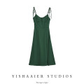 Dress Spring 2021 blackish green S,M,L Mid length dress singleton  Sleeveless commute High waist Solid color Socket A-line skirt camisole Type A Retro Lace up, stitching