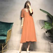 Dress Seaporey / cypress [blue] [Caramel] blue Caramel M L XL XXL Korean version Short sleeve have more cash than can be accounted for summer