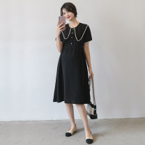 Dress Seaporey / cypress [black] black M L XL XXL Korean version Short sleeve Medium length summer LYQ-61783