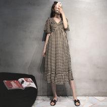 Dress Seaporey / cypress Black Khaki M L XL XXL XXL enlarge XXXL Korean version Short sleeve Medium length summer LYQ--2950