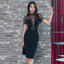 Dress Summer 2020 black S,M,L,XL Mid length dress Fake two pieces Short sleeve commute Crew neck Others 18-24 years old Type A Korean version Lace