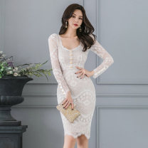 Dress Winter of 2019 White, black S,M,L,XL Miniskirt singleton  Long sleeves commute other middle-waisted Solid color Socket One pace skirt routine Others Other / other Korean version 81% (inclusive) - 90% (inclusive) Lace nylon