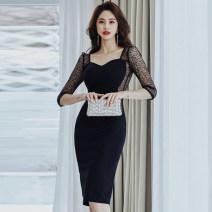 Dress Summer 2021 black S,M,L,XL Middle-skirt singleton  three quarter sleeve commute Crew neck Type H Korean version Stitching, lace