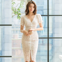 Dress Autumn 2020 white S,M,L,XL Middle-skirt singleton  Short sleeve commute V-neck middle-waisted zipper One pace skirt routine Others 25-29 years old Type H Korean version 81% (inclusive) - 90% (inclusive) Lace polyester fiber
