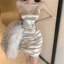 Dress Spring 2021 Champagne, black S,M,L Miniskirt singleton  Sleeveless commute V-neck High waist Solid color Socket A-line skirt camisole 18-24 years old Type A Ol style 51% (inclusive) - 70% (inclusive) other cotton