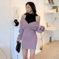 Dress Winter 2020 lilac colour S,M,L,XL Middle-skirt singleton  Long sleeves commute V-neck High waist Solid color Socket One pace skirt routine Korean version Splicing 81% (inclusive) - 90% (inclusive) knitting cotton