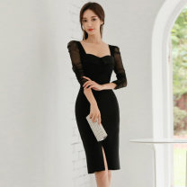 Dress Autumn of 2019 black S,M,L,XL Miniskirt singleton  Long sleeves commute High waist Solid color zipper Pencil skirt routine Type X Other / other Korean version